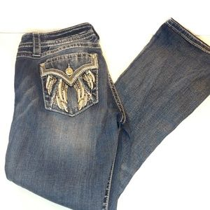 Miss Me Embellished Angel Wing Easy Boot Jeans